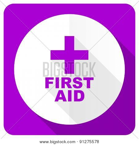 first aid pink flat icon