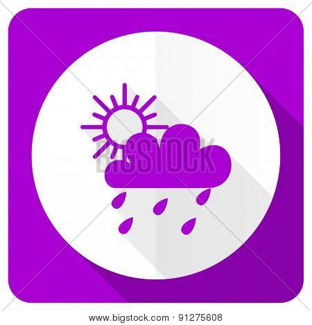 rain pink flat icon waether forecast sign