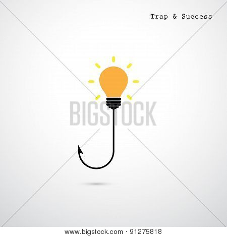 Hooks And Light Bulbs. Trap And Success Concept. Business Idea.