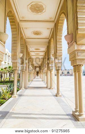 Hassan II Mosque in Casablanca, Morocco - arcades