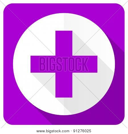 plus pink flat icon cross sign