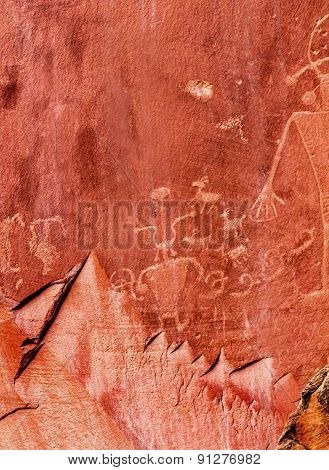 Native American Indian Petroglyphs Sandstone Mountain Capitol Reef National Park Torrey Utah