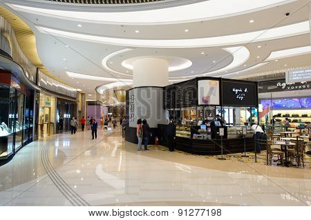 HONG KONG - APRIL 23, 2015: The PopCorn Shopping Malll interior. Hong Kong shopping malls are some of the biggest and most impressive in the world.