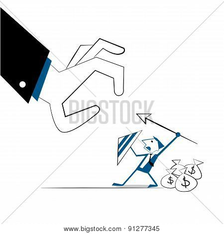 Vector Illustration Businessman Protect Money Bags