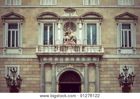 Balcony of the Palau de la Generalitat in Barcelona, Spain