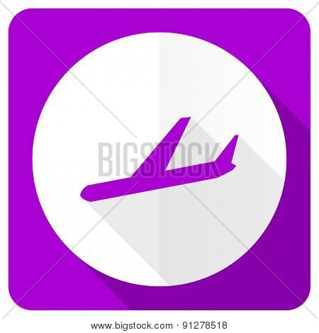 arrivals pink flat icon plane sign