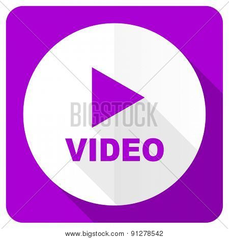video pink flat icon