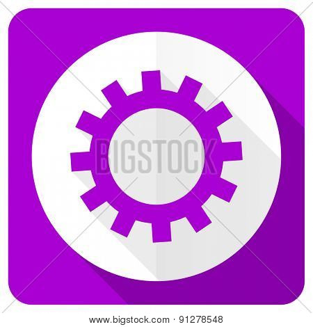 gears pink flat icon options sign