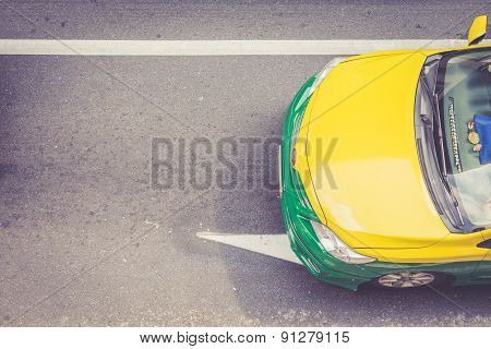 Top View Of Public Taxi On The Road
