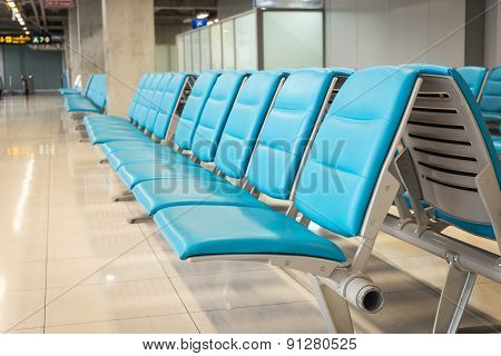 Row Of Blue Chair In The Airport