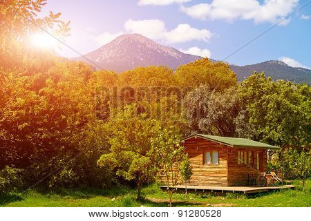 Wooden bungalows on campsite
