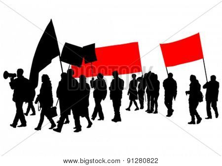 People with large flags on white background