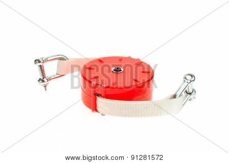 Close Up Tow Cable For Car Isolated On White
