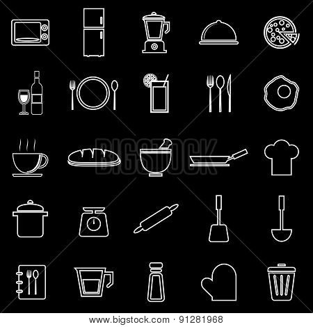 Kitchen Line Icons On Black Background