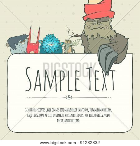 Cute doodle monster greeteng or invitation card with place for your text.