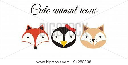 Cute animal icons - fox, penguin, cat