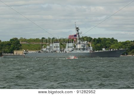 USS Barry guided missile destroyer of the United States Navy during parade of ships at Fleet Week 20