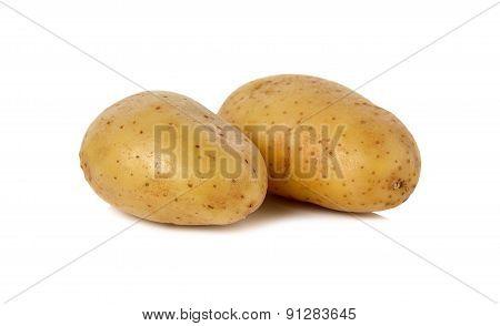 Closeup Unpeeled Fresh Potato On White Background