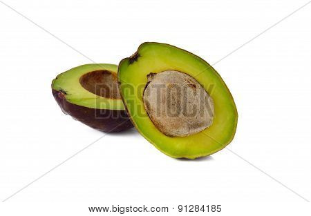 Avocado With Seed On White Background