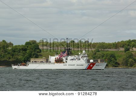 US Coast Guard Cutter Spencer of the United States Coast Guard during parade of ships at Fleet Week