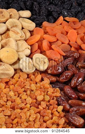 Various Dried Fruits Background