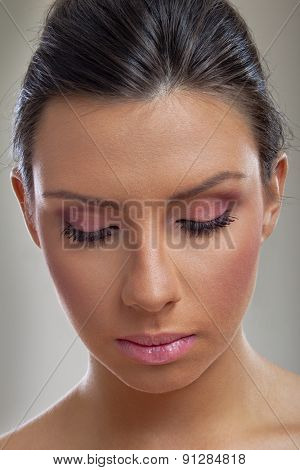 Girl with beautiful make up eyes closed