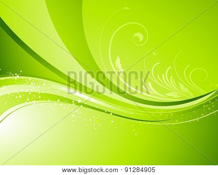 Seasonal  nature abstract background. Eco  Vector floral pattern. Green color. Spring, summer season