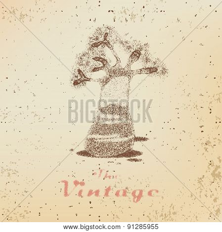 Vintage Label With Of Spreading Oak On Faded Paper
