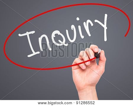 Man Hand writing Inquiry with marker on transparent wipe board.