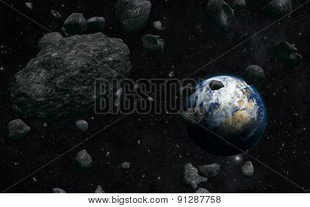 earth and meteorite