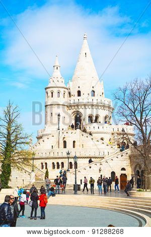 Tourists at Fisherman Bastion, Budapest, Hungary