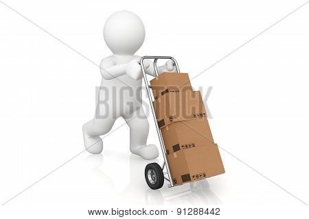White Man And Hand Truck With Cardboard Box With Clipping Path.
