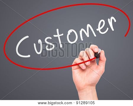 Man Hand writing Customer with marker on transparent wipe board.