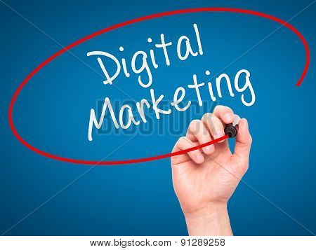 Man Hand writing Digital Marketing with marker on transparent wipe board.