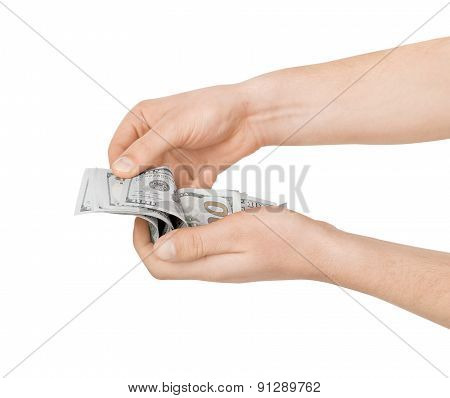 Hands Holding American Dollar Bills. Isolated On A White Background