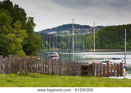 Sailboats At Lake Solina (bieszczady, Poland) At Dawn