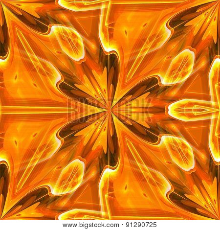 Seamless Kaleidoscope Texture Or Pattern In Orange Spectrum 2