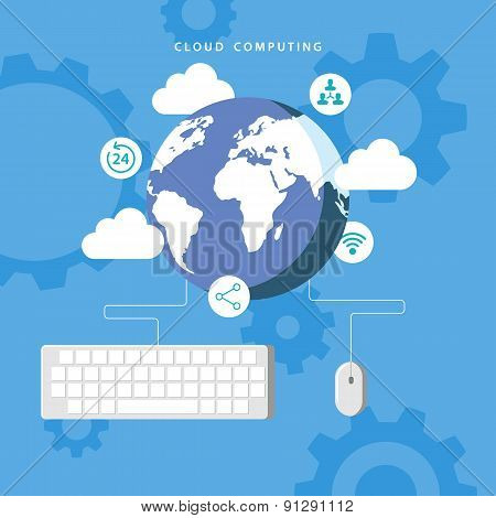 Cloud computing. Mouse and keyboard connected to Earth.