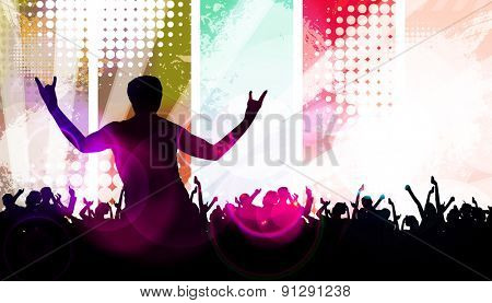 Disco party. Music event background for poster or banner