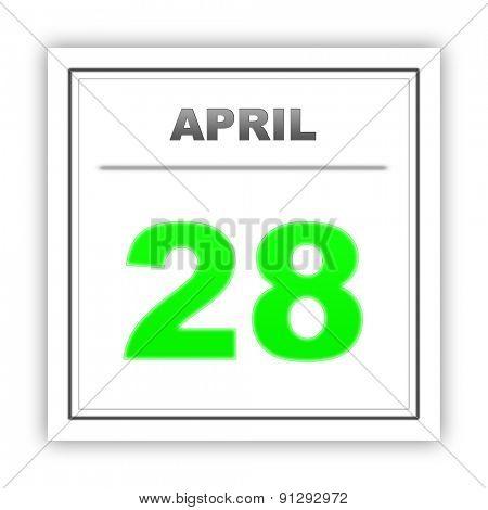 April 28. Day on the calendar. 3d