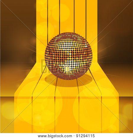 Golden Disco Ball On 3D Gold Step