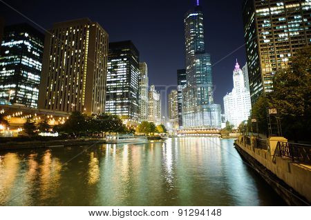 CHICAGO, USA - OCTOBER 05, 2011: Chicago downtown. Chicago is the third most populous city in the United States, after New York City and Los Angeles