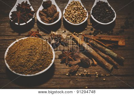 Garam Masala with various seasonings for cooking on white spoons