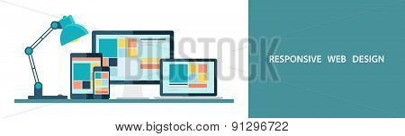 Flat vector illustration of responsive web design.