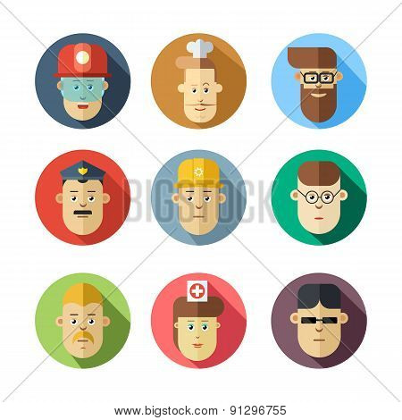Colorful human faces. Different professions. Circle icons set in flat style.