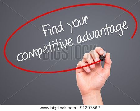 Man Hand writing Find your competitive advantage with marker on transparent wipe board.
