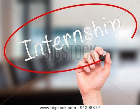 Man hand writing Internship with marker on visual screen.