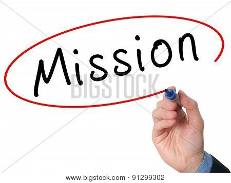 Hand writing Mission with marker on virtual screen