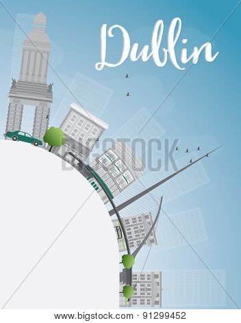Dublin Skyline with Grey Buildings, Blue Sky and copy space, Ireland. Vector Illustration