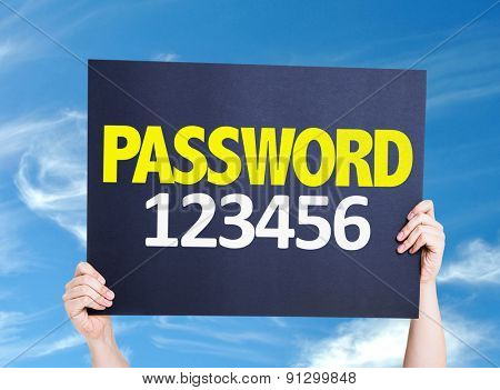 Password 123456 card with sky background